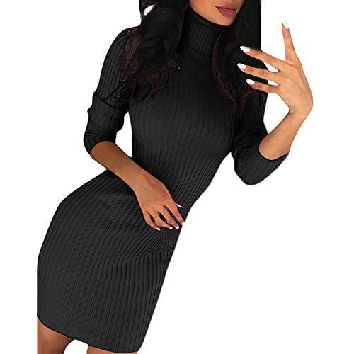 iHENGH Damen Herbst Winter Bequem Lässig Mode Frauen Casual Langarm Pullover Rollkragenpullover Kleid(Schwarz, XL)