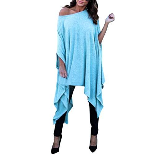 Mujeres Tops Tallas Grandes, Casual Slash Cuello Sexy Blusa SunGren Camisa Suelta Irregular Short Batwing Sleeve Camiseta Larga(Azul,4XL)