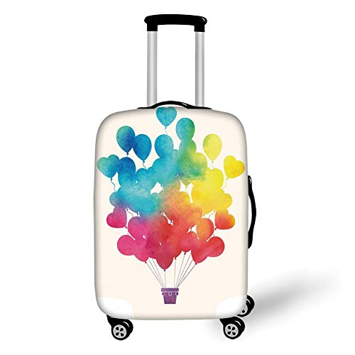Travel Luggage Cover Suitcase Protector,Watercolor,Hot Air Balloon Rainbow Colors Cute Heart Shapes Cheerful Happy Decorative,Sky Blue Yellow Pink Red,for TravelM 23.6x31.8Inch -