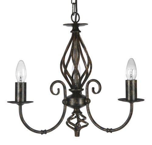 Tuscany 3 Light Ceiling Fitting  Black / Gold Painted Finish
