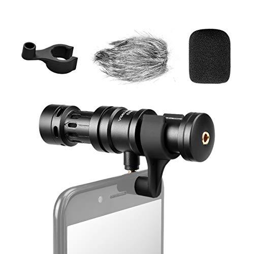 Comica Richtmikrofon Smartphone Mikrofon Shotgun Handy Video Mikrofon Kondensator für Videos mit Windschutz 3,5mm Klinke CVM-VS08 für Samsung Huawei Android Xiaomi iPhone 5/6/6s (Iphone Mikrofon Für Video)