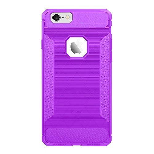 EKINHUI Case Cover Für Apple IPhone 6 u. 6s Fall gebürstete Linien Beschaffenheit Karikatur Faser Haltbare Anti-Rutsch TPU Abdeckung Schock-Absorbtion schützende rückseitige Abdeckung ( Color : Dark B Purple
