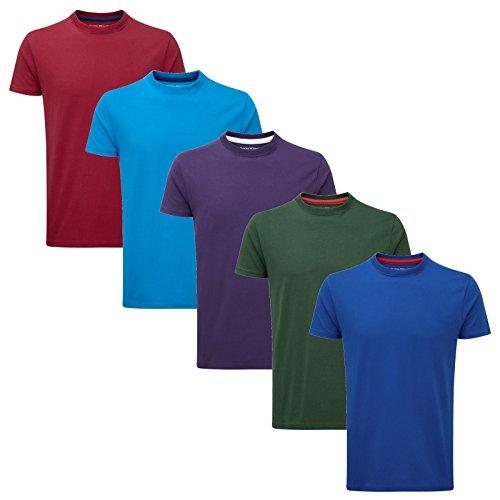 Charles Wilson 5er Packung Einfarbige T-Shirts mit Rundhalsausschnitt (X-Large, Ergänzungen) (T-shirt X-large)