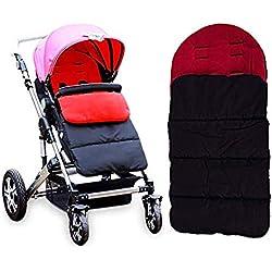 AUVSTAR Baby Schlafsack, Universal 3 in 1 Kinderwagen Anhang Matte Fußsack Abdeckung Kinderwagen Bunting Tasche Wasserdicht Winddicht Kalt-Beweis Abnehmbar (Rot)