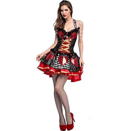 LCWORD Halloween Kostüm Pailletten Herzen Königin Schachbrett Clown Märchen Königin Cosplay Leistung,S
