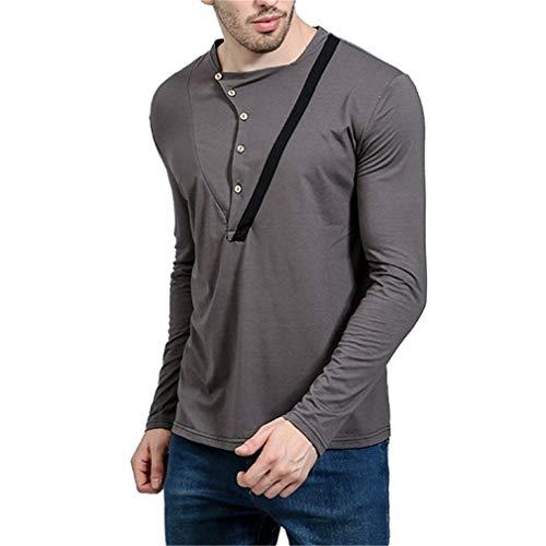 Hulday Herren Casual Harajuku Rundhals Winde Crew Langarmshirts Neck Frühling Herbst Einfacher Stil Slim Fit Basic T-Shirts Bluse Tops (Color : Grau, Size : ()