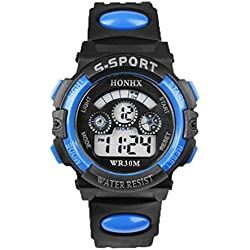 Tonsee Mens Boys Digital LED Quartz Alarm Date Sports Wrist Watch Blue