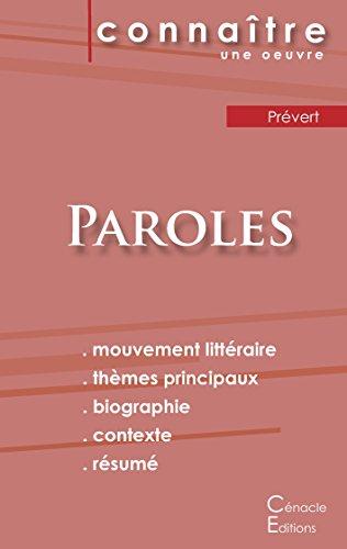 Fiche de lecture Paroles de Prévert (Analyse littéraire de référence et résumé complet)