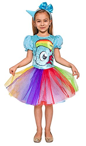 Fabelhaftes Einhorn Kostüm für Kinder - komplettes Einhorn Kostüm Mädchen inkl. Kleid und Haarreifen (122/128)