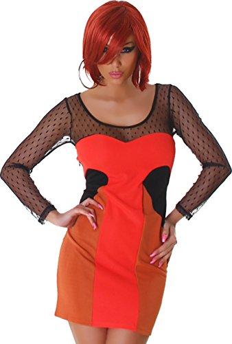 Mini-robe de la femme Les manches en dentelle longue dentelle manches robe de cocktail col rond transparent Rouge Marron