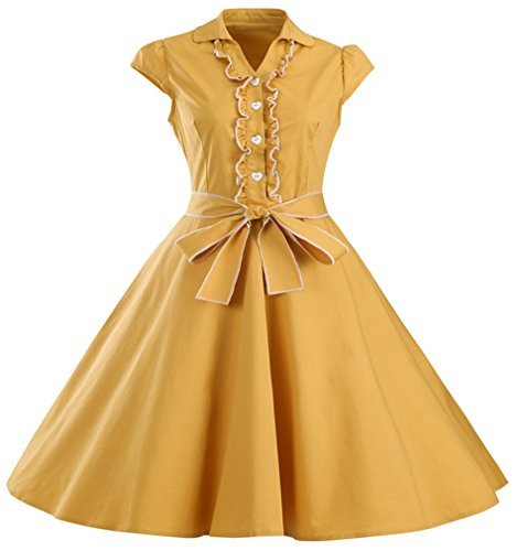Eyekepper Robe coctail Robe courte Femme / demoiselle - robes style annee 50 - elegante vintage dance party Jaune