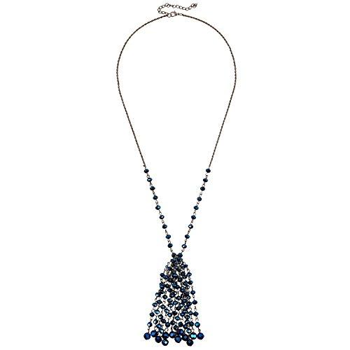 D übertreffen Charm Quaste Glas Facet Perle Halskette Lange Handarbeit Fransen Kristall Anhänger Schmuck 71,1cm