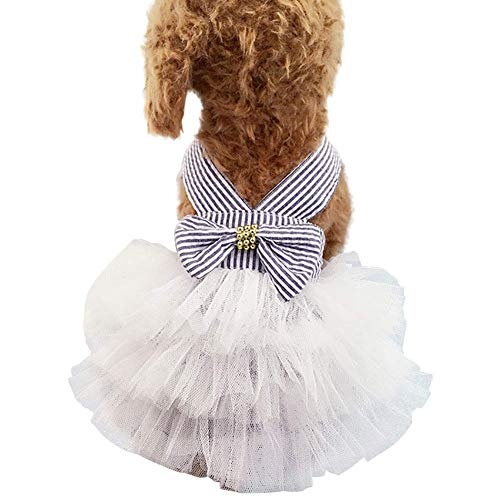 Bobopai Dogs Cats Clothes Cotton Dresses Suspender Costumes Big Bowknot Striped Outfits XS-XXL (Blue) -