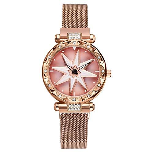 2019 Mode Damen Armbanduhr,Paticess Damenschmuck rotierende Blume Oberfläche Edelstahl Mesh Strap Watch Zifferblatt Quarzuhr Analog mit Batterie