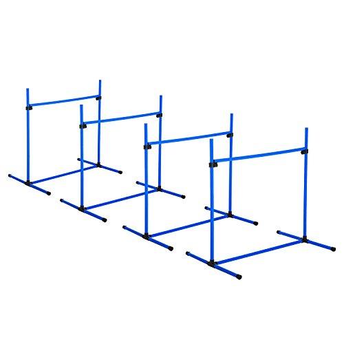PawHut D07-018BU Agility Hürdenset Slalom Stangen Hunde Training Set 4 x Hürden, Kunststoff, Blau, 95x65x95cm