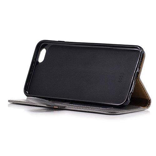 Coque iPhone 6 Plus, iPhone 6S Plus Coque Portefeuille, SainCat Pochette Portefeuille en Cuir Véritable Coque de Protection Housse, Leather Case Wallet Cover Flip Protective Cover Skin Housse, Coque d grigio