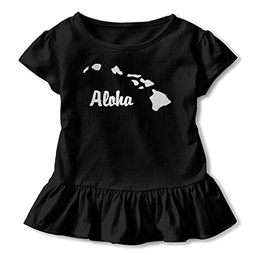 Girls' Hemden Sleeve Aloha Hawaiian T-Shirts, Casual Tunic Shirt Kleid with Flounces, 2-6T -