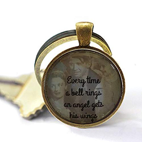 Schlüsselanhänger mit Zitat It's a Wonderful Life, aus Glas, mit englischsprachiger Aufschrift Every Time a Bell Rings Angel gets Wings Ideas