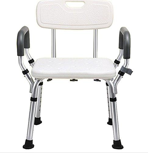 LYTSM Duschstuhl, Mit Armlehnen Mit Rückenlehne Wasserdicht Rutschfeste Badezimmer Aluminiumlegierung Bad Stuhl Hygiene und Komfort