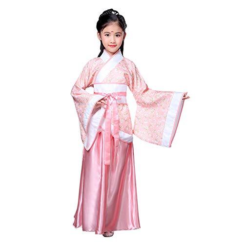 Deylaying Chinesisch Uralt Stil Hanfu - Drucken Tang Anzug National Traditionell Retro Lange Ärmel Cosplay Performance Kostüm für Mädchen