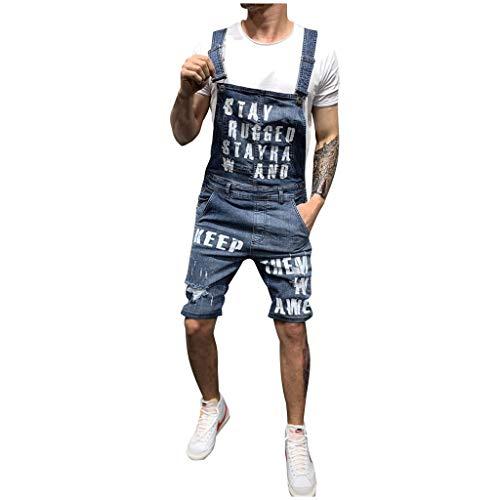 hahashop2 Herren Straight Jeans Original Jeanshosen Basic Slim Fit Skinny Jeans Denim-Jumpsuit mit Mehreren Taschen und Gewaschenem Riemen für Herren -