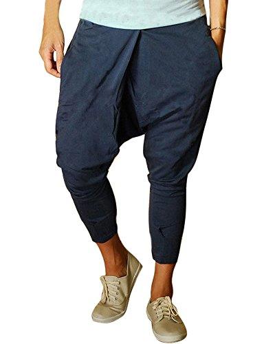 Minetom Herren Jungen Hippie Haremshose Elastischer Bund Eingrifftaschen Jogginghose Tanz Trainingshose Freizeit Skinny Hose ( Blau EU M ) (Jones Sport York New Hose)