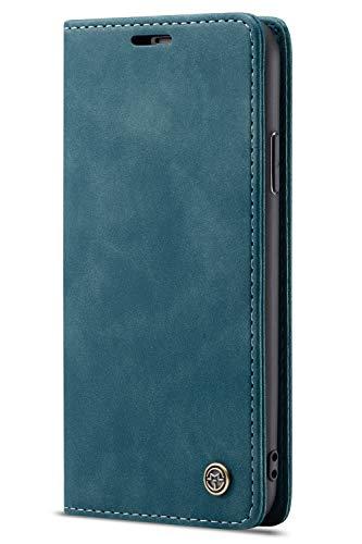 Handyhülle Case Compatible with iPhone 7/iPhone 8, Kusnt Leder Flip Case Handytasche mit Kredit Karten Hülle Geldklammer Unsichtbar Magnet und Stand Funktion Schutzhülle,Blau - 7 Leder