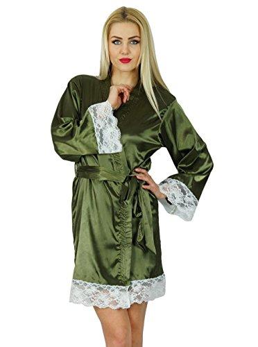Bimba femmes manches kimono en satin courte Robe Préparation mariée demoiselle d'honneur dentelle Robes Coverup Vert