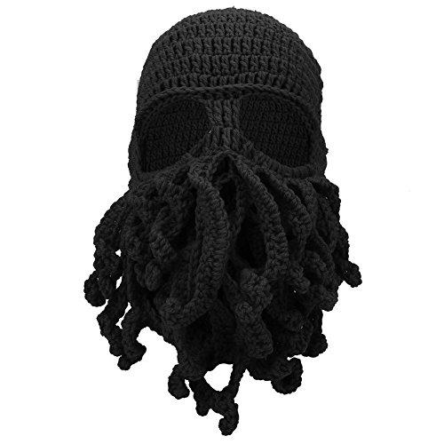 Kreative Art Kappe, lustiger Winter warmer thermischer windundurchlässiger weicher Woolen Masken Knit Hut(Schwarz)