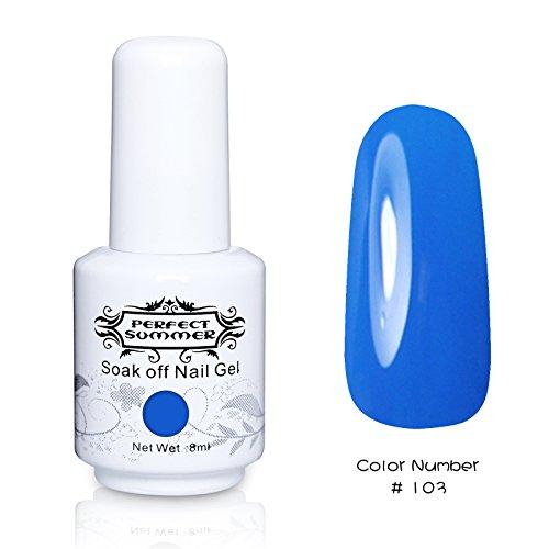 Perfect Summer 1pcs 8ml Vernis à Ongles Semi-Permanent UV LED Soak Off Gel Nail Polish -Bleu de Cobalt #103