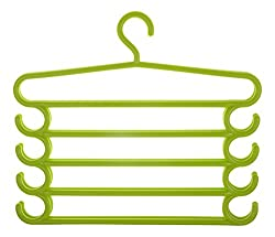 HOME CUBE Pants Hangers Holders For Trousers Towels Clothes Apparel Hangers Five-layer Space Saving with hook Set of 2 - Green