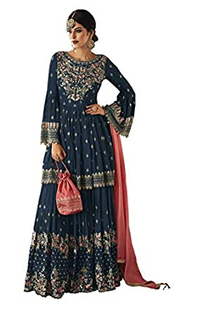 Fabzara Women's Semi-Stitched Sharara with Palazzo Style Suit (FZ_59002_Mohini, Navy Blue, Free Size)