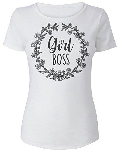 Girl Boss Flower Crown Frauen Women's T-Shirt Medium (T-shirts Lady Boss)