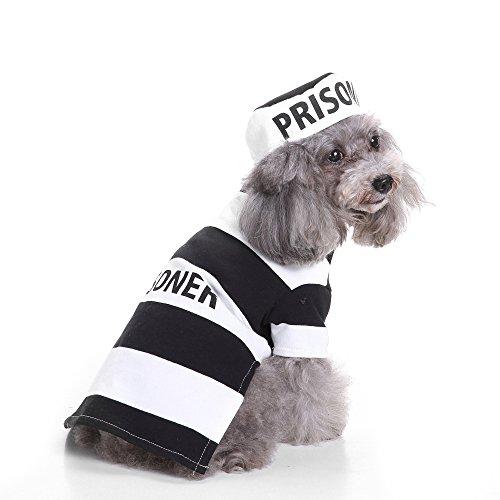 Hunde Kostüm Gefangener - BOENTA Hundekleidung Party Kostüm XS Hund Halloween Dekoration Kostüm für Jungen Mädchen Kleine Hunde (Gefangene)