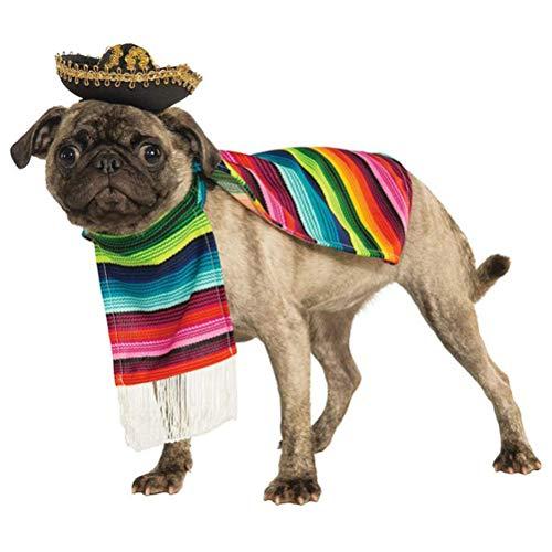 POPETPOP Hundeponcho aus mexikanischer Serape-Decke mit mexikanischem Sombrero -Cinco De Mayo Hundemantel-Hund Halloween-Kostüme-Größe L