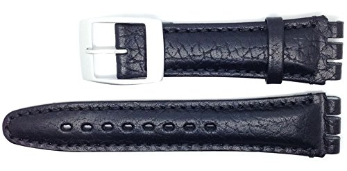 New Condor 19mm (22mm) Sized Genuine Leather Strap Compatible for Swatch Watch - Black - Chrome Buckle - SC14_01