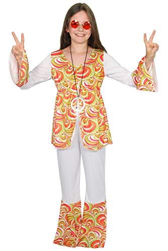 60er Jahre Kostüm Kind - Foxxeo Weißes Hippie Kostüm mit bunten Retro Print für Kinder Fasching Karneval 60er 70er Jahre Motto-Party Größe 146-152