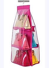 Styleys Fabric 6-Pocket Hanging Storage Rack for Handbag, Pink, 90x35x35cm