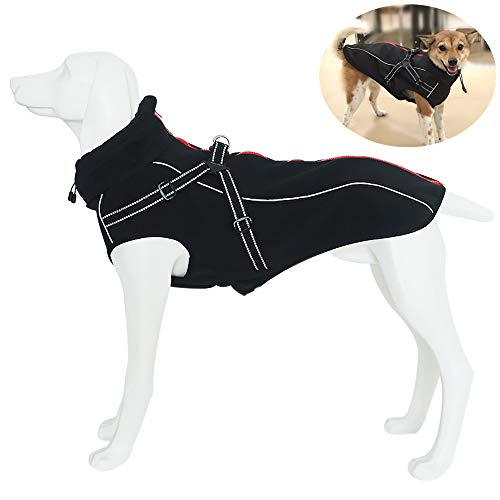 JunBo Hundemantel Hundejacke Winter Warme mit Verstellbaren Riemen und Reflektierenden Streifen für Mittlere und Große Hunde (M, Schwarz)