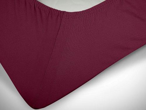 npluseins klassisches Jersey Spannbetttuch - erhältlich in 34 modernen Farben und 6 verschiedenen Größen - 100% Baumwolle, 70 x 140 cm, pflaume - 6