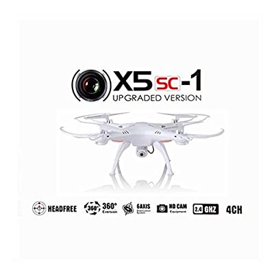 Syma X5SC Upgraded New Version Syma X5SC-1 Falcon Drone HD 2.0MP Camera 4 Channel 2.4G Remote Control Quadcopter 6 Axis 3D Flip Fly UFO 360 Degree Eversion With 4GB SD Card (White)