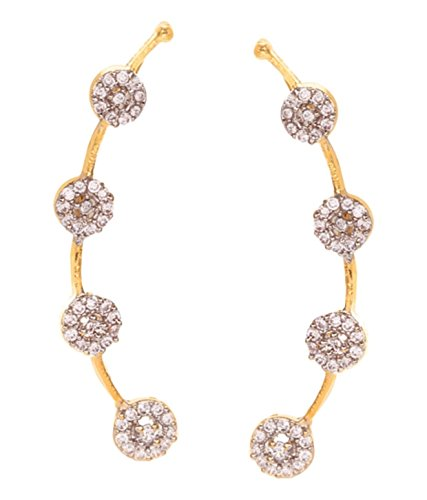 Gold Tone Indian Ethnic White American Diamond Designer Ear cuffs Earrings For Girls and Women (Fake Gold Diamond White Earrings)