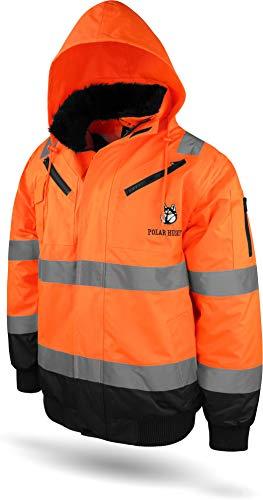 normani Outdoor- & Arbeitsbekleidung Piloten-Warnschutzjacke in Orange und Gelb - Regenajcke in Neonfarbe [S-4XL] Farbe Warnorange/Marine Größe M