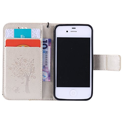 Voguecase® Pour Apple iPhone 7 Coque, Étui en cuir synthétique chic avec fonction support pratique pour Apple iPhone 7 (Plume-Gris)de Gratuit stylet l'écran aléatoire universelle Arbre-Or