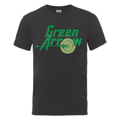 DC Comics Herren T-Shirt, DC0001271 Official Green Arrow Logo, GR. X-Large (Herstellergröße: X-Large), Grau (Charcoal) (Herren Shirt Arrow)