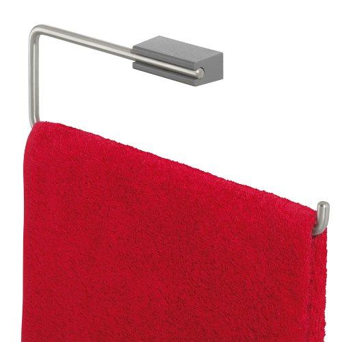 Tiger Cliqit Handtuchring aus Edelstahl gebürstet, Wandbefestigung ABS Kunststoff, grau -