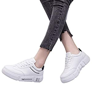 TianWlio Sneaker Frauen Mode Art und Weise Beiläufige Runde Zehe Schnüren Outdoorschuhe Flache Sneaker Sportschuhe Laufschuhe Black Red Sliver 36-40