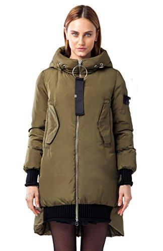 "047CW Damen Daunenjacke Parka Winter Jacke ""CLASNA"" in khaki (M/38)"