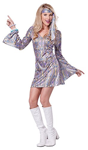 Adult Disco Sensation Costume with Dress and Head Tie. Medium Size 10 to 12.