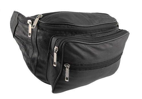 Soft Nappa Leather Black 7 Zip Pockets Bumbag / Waist Bag(1446)